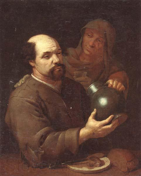 unknow artist A man seated at a table holding a flagon,a servant offering him a glass of wine